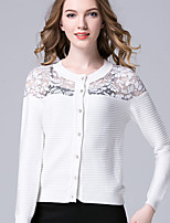 Women's Casual/Daily Simple Regular Cardigan,Patchwork White Black Round Neck Long Sleeve Cotton Fall Medium Micro-elastic