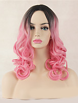 Fashion Natural Black To Pink Color Curly Wig Synthetic Cosplay Wig