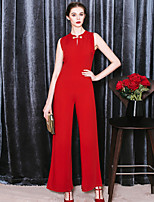 MASKED QUEEN Women's Solid Red JumpsuitsSimple Crew Neck Sleeveless