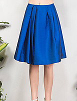 I'HAPPY Women's Solid Blue / Black SkirtsSimple Knee-length