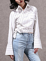 Chemise Femme,Rayé Décontracté / Quotidien simple Printemps / Automne Manches Longues Mao Blanc Coton Moyen