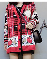 Women's Casual/Daily Simple Regular Pullover,Print Red Notch Lapel Long Sleeve Spandex Winter Medium Micro-elastic