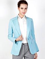 Feminino Blazer Casual Simples Outono / Inverno,Sólido Azul Poliéster / Elastano Lapela Chanfrada Manga Longa Média