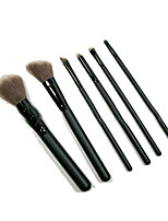 6 Makeup Brushes Set Synthetic Hair Portable Wood Face NFSS / Send Package