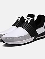 Men's Sneakers Spring / Fall Comfort PU Athletic Flat Heel Slip-on Black / White Sneaker