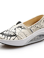 נשים-נעליים ללא שרוכים-קנבס-פלטפורמה-כחול / אדום / לבן-קז'ואל-עקב שטוח