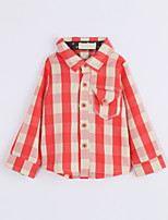 Girl Casual/Daily Houndstooth Shirt,Cotton Fall Long Sleeve Regular