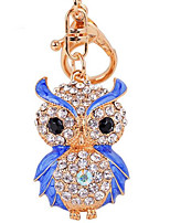 Fashion Diamond Owl Car Key Bag Lady Pendant Key Buckle Ring Chain Metal Color
