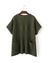 Damen Standard Mantel / Capes-Lässig/Alltäglich Einfach Gestreift Schwarz / Grün Rundhalsausschnitt Langarm Polyester Herbst / Winter