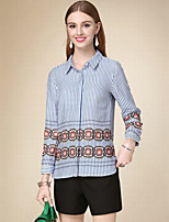 DOF Women's Casual/Daily Simple Fall ShirtStriped Shirt Collar Long Sleeve Blue Cotton Medium