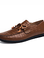 Men's Loafers & Slip-Ons Spring / Fall Moccasin / Comfort Leather Casual Flat Heel Bowknot Black / Brown Others