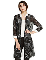 Damen Druck Street Schick Ausgehen Jacke,Herbst Hemdkragen ¾-Arm Schwarz Transparent Polyester