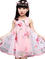 Девичий Платье На каждый день Смесь хлопка Однотонный Лето Без рукавов