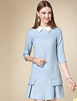 DOF Women's Casual/Daily Simple A Line DressSolid Shirt Collar Above Knee  Length Sleeve Blue Cotton Fall High