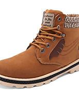 Men's Boots Winter Comfort Fleece Casual Flat Heel Lace-up Black Blue Yellow Walking