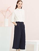 De las mujeres Pantalones Perneras anchas-Simple Rígido-Rayón / Poliéster / Licra