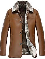 Мужчины На каждый день / Большие размеры Однотонный Пальто с мехомПростое Черный / Коричневый Длинный рукав,Искусственный мех
