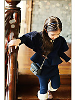 Girl's Casual/Daily Solid DressCotton Winter Black / Orange