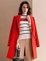 Women's Going out Simple Coat,Solid Notch Lapel Long Sleeve Winter Red / Gray Polyester / Spandex Medium