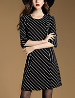 Women's Casual/Daily Sophisticated Sheath DressStriped Round Neck Mini  Length Sleeve Black Cotton Spring / Fall Mid