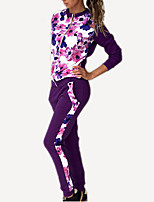 Women's Going out / Casual/Daily Simple / Active All Seasons Set PantFloral Round Neck Long Sleeve Blue / Red / Purple