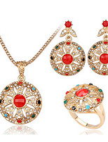 Turkish Jewelry Fashion Luxury Necklaces For Women 2016 Austrian Crystal Circular Gold Necklace And earring set