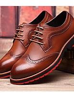Черный / Синий / Коричневый / Желтый-Мужской-Для офиса / На каждый день-КожаУдобная обувь-Туфли на шнуровке