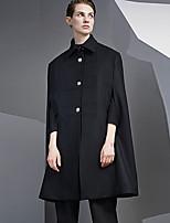 Женский На выход / На каждый день Однотонный Пальто Рубашечный воротник,Простое Зима Черный Без рукавов,Шерсть / Искусственный шёлк,