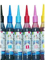 encre d'imprimante à jet d'encre (noir 100ml rouge 100ml jaune 100ml bleu clair 100ml bleu 100ml lumière 100ml rouge)