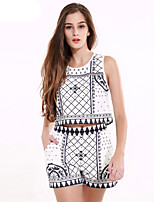 1287 Women's Going out / Casual/Daily Vintage Summer T-shirt PantPrint Round Neck Sleeveless White Cotton