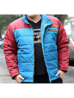 Men's Regular Down Coat,Simple Casual/Daily Solid-Polyester White Duck Down Long Sleeve Stand Blue / Green