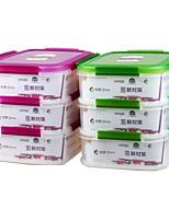 cuisine hermétique en plastique contenant de la nourriture avec serrure 3 couche (3.1L * 3p)