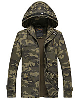 Men's Casual/Daily Vintage JacketsSolid Hooded Long Sleeve Winter Brown / Green Cotton Thick