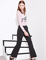 I'HAPPY  Women's Solid Black Bootcut PantsSimple Spring / Summer