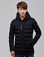 Men's Regular Padded Coat,Simple Casual/Daily Solid-Polyester Polypropylene Long Sleeve Hooded Blue / Red / Black