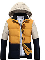Men's Regular Down Coat,Simple Casual/Daily Color Block-Polyester White Duck Down Long Sleeve Red / Yellow