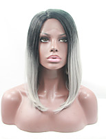 Sylvia Synthetic Lace front Wig Black Roots Grey Hair Heat Resistant Middle Length Straight Bob Synthetic Wigs