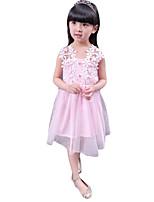 Девичий Платье,На каждый день,Вышивка,Хлопок,Лето,Розовый / Белый