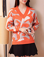 Women's Casual/Daily Cute Regular Pullover,Print Pink / Orange V Neck Long Sleeve Polyester Fall / Winter Medium Micro-elastic