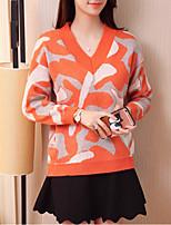 Женский На каждый день Очаровательный Обычный Пуловер С принтом,Розовый / Оранжевый V-образный вырез Длинный рукав Полиэстер Осень / Зима