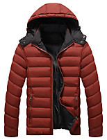 Men's Regular Padded Coat,Simple Plus Size / Casual/Daily / Formal Solid-Polyester Polyester Long Sleeve Hooded Blue / Red / Black / Green