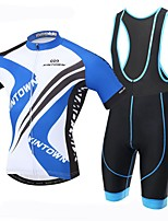 XINTOWN Men's Short Sleeve Cycling Jerseys And Bib Padded Biking Shorts Set MTB Blue