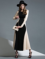 Gaine / Swing Robe Femme Sortie / Décontracté / Quotidien simple,Couleur Pleine Col Arrondi Maxi Manches Longues Rouge / Noir / Orange