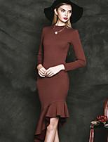 Trompette/Sirène Robe Femme Sortie simple,Couleur Pleine Col Ras du Cou Mi-long Manches Longues Rouge / Noir Coton / PolyesterPrintemps /