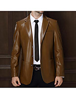 Men's Casual/Daily Simple Jackets,Solid Long Sleeve Winter Brown Polyester Medium