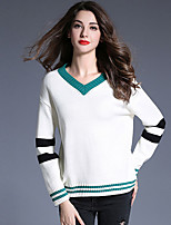 Women's Going out Street chic Regular Pullover,Color Block White V Neck Long Sleeve Polyester Fall / Winter Medium Micro-elastic