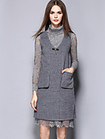 YICHAOFUSHI Women's Casual/Daily Street chic Loose DressSolid Crew Neck Above Knee Long Sleeve Gray Polyester Fall Mid Rise  suit -OMT-Y2211-240