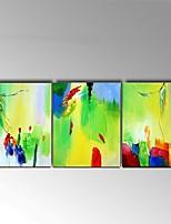Pintados à mão Abstracto / Vida Imóvel Pinturas a óleo,Clássico / Estilo Europeu 3 Painéis Tela Hang-painted pintura a óleo For Decoração