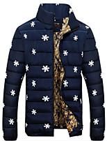 Пальто Простое Длинная На подкладке Мужчины,Цветочный принт На каждый день Кожа особого типа Полипропилен,Длинный рукавСиний / Красный /
