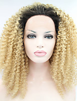 Sylvia Synthetic Lace front Wig Black Blonde Ombre Hair  Heat Resistant Kinky Curly Synthetic Wigs